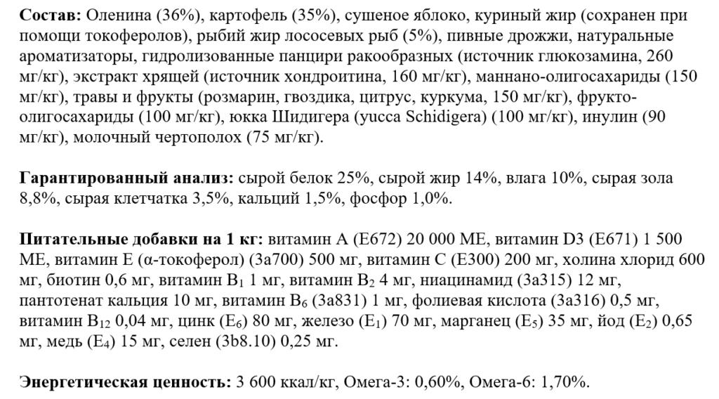 Состав корма Брит Каре